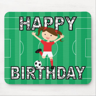 Soccer Birthday Girl 1 Red and White Mouse Pad