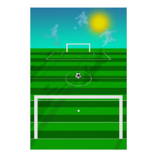 Soccer Dreams Soccer field and clouds futbol field Poster