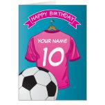 Soccer Football Pink Girls Shirt Sports Birthday Greeting Card