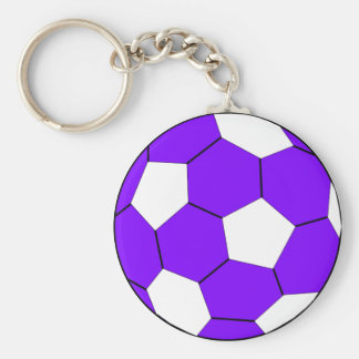 Soccer football purple and white basic round button key ring