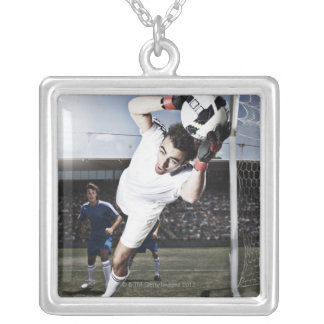 Soccer goalie catching soccer ball square pendant necklace