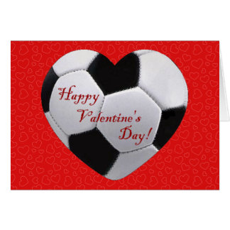 Soccer Heart Happy Valentines Greeting Card