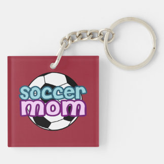 Soccer Mom Double-Sided Square Acrylic Key Ring