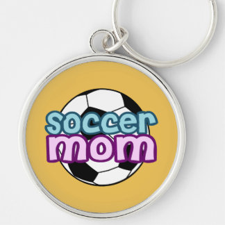 Soccer Mom Silver-Colored Round Key Ring
