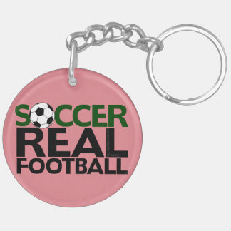 Soccer=Real Football Double-Sided Round Acrylic Key Ring