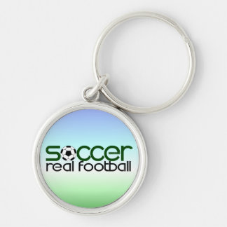 Soccer = Real Football Silver-Colored Round Key Ring