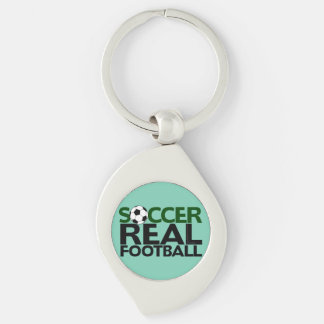 Soccer=Real Football Silver-Colored Swirl Key Ring