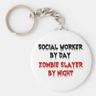 Social Worker by Day Zombie Slayer by Night Basic Round Button Key Ring