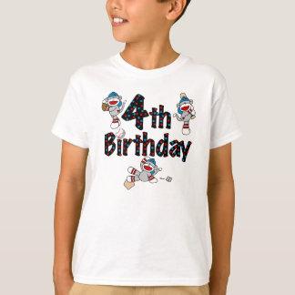 Sock Monkey Baseball 4th Birthday Tshirt