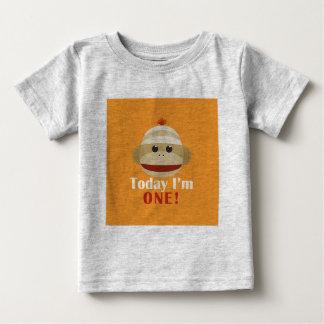 Sock Monkey First Birthday Orange Kelly Schwark Tshirt