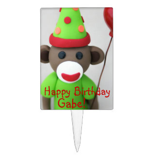 Sock Monkey Happy Birthday with Red Balloon Cake Toppers
