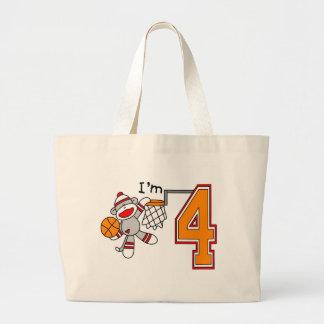Sock Monkey Hoops 4th Birthday Jumbo Tote Bag