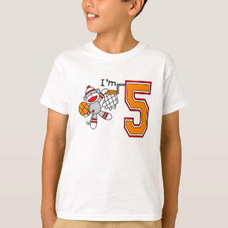 Sock Monkey Hoops 5th Birthday Tshirts