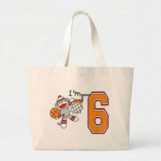 Sock Monkey Hoops 6th Birthday Jumbo Tote Bag