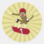 Sock Monkey Skateboarder Round Sticker