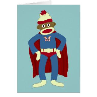 Sock Monkey Superhero Greeting Card