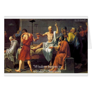 """Socrates """"Wisdom/Wonder"""" Quote Gifts Tees & Cards"""