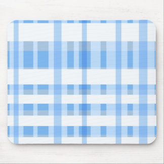 Soft Blue and white Plaid Mouse Pad