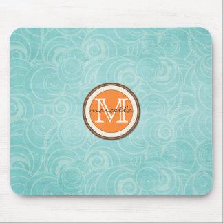 Soft Blue Circle Pattern Orange Monogram Mouse Pad