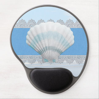 Soft Blue Seashell And Lace Gel Mouse Pad