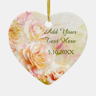 Soft Blush Watercolor Rose Floral Ceramic Heart Decoration