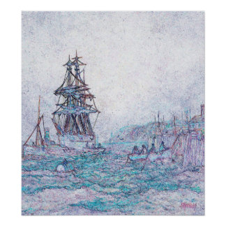 Soft Colored Sketch of Sailing Vessel and Crew Poster