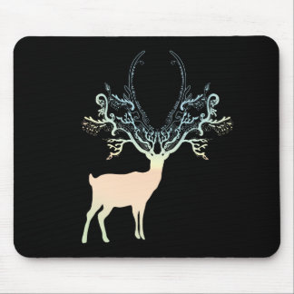 Soft Yellow Blue Pastel Color Silhouette Deer Mouse Pad