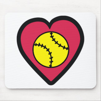 Softball Heart Mouse Pad