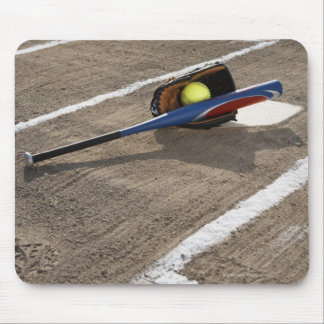 Softball, softball glove and bat at home plate mouse pad