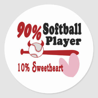 Softball Sweetheart Round Sticker
