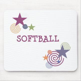 Softball Swirl Mouse Pad