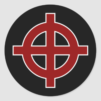 Solar Cross (red, white & black) Round Sticker