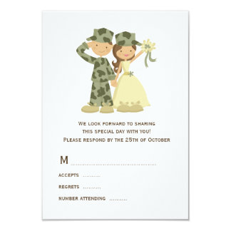 Soldier and Bride Wedding RSVP Cards 9 Cm X 13 Cm Invitation Card