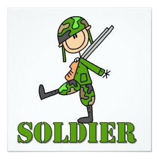 Soldier Stick Figure 13 Cm X 13 Cm Square Invitation Card