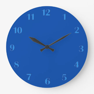 Solid Cobalt Blue with Blue Numbers Wall Clock