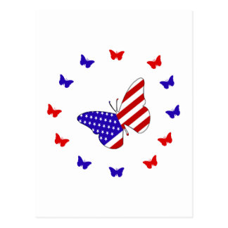 Solid Red, White & Blue Butterfly Postcard