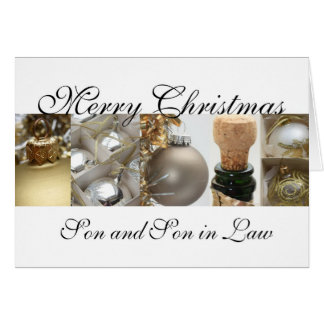 Son and Son in Law merry christmas gold on white c Greeting Card