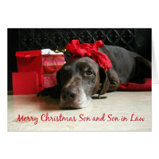 Son and Son in Law merry christmas pointer and gif Greeting Card