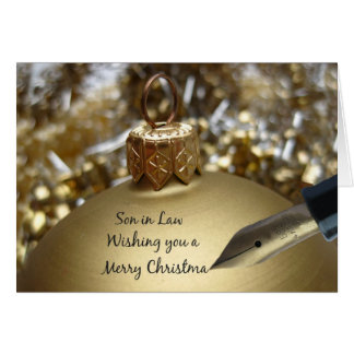 Son in Law wishing you merry christmas pen on gold Greeting Card