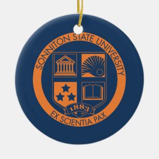 Sonniton State University Seal - Navy/Orange Round Ceramic Decoration