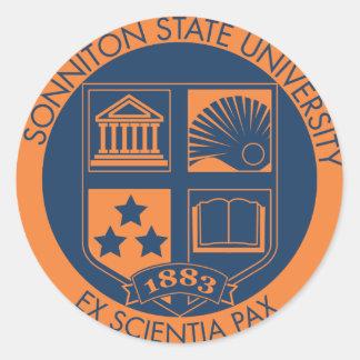 Sonniton State University Seal - Navy/Orange Round Sticker