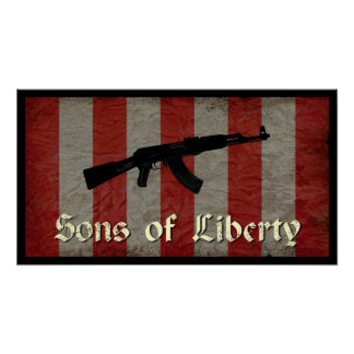 Sons of Liberty Flag with AK 47 Poster
