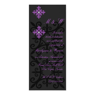 Sophisticated Black and Purple Engagement Party 10 Cm X 24 Cm Invitation Card