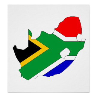 South Africa Flag Map full size Poster