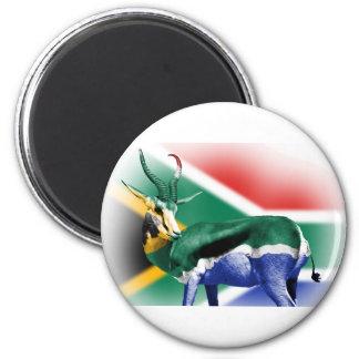 South African Springbock Flag 6 Cm Round Magnet