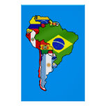 South American flags of South America flag Map Poster