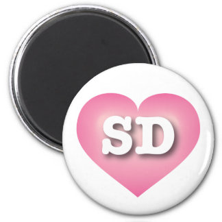 South Dakota pink fade heart 6 Cm Round Magnet