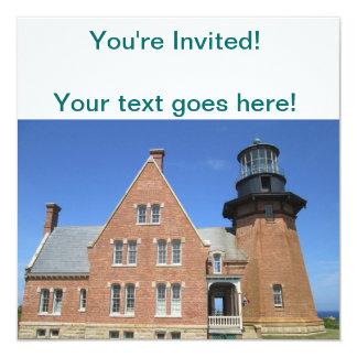 Southeast Lighthouse Building Block Island 13 Cm X 13 Cm Square Invitation Card