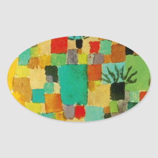 Southern (Tunisian) gardens by Paul Klee Oval Sticker