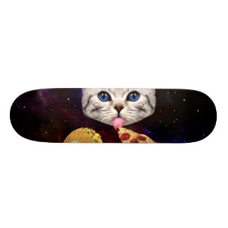 Space Cat with taco and pizza Skate Board